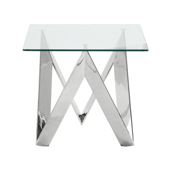 Armen Living Scarlett Polished Steel Glass End Table ARM-LCSCLAGLPL
