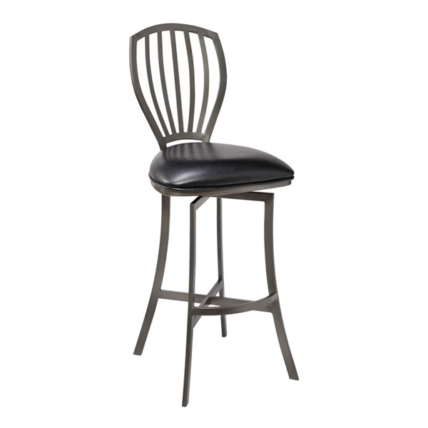 Armen Living Sandy Ford Black Faux Leather Counter Height Bar Stool ARM-LCSDBAMFBL26