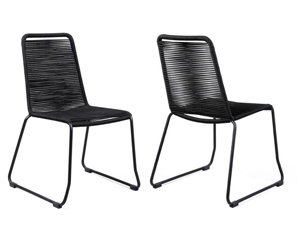 2 Armen Living Shasta Black Rope Outdoor Stackable Dining Chairs ARM-LCSHSIBLK