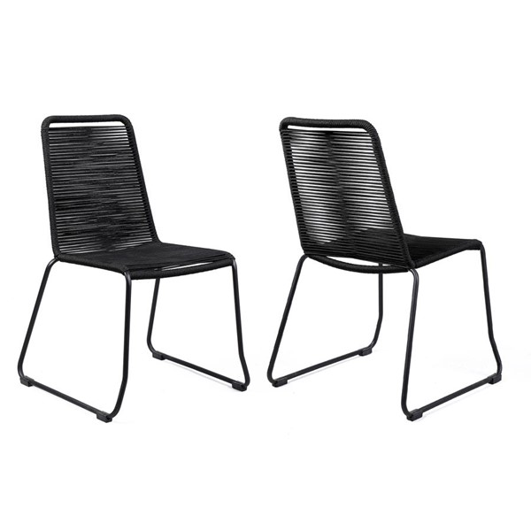 Armen Living Shasta Powder Coated Rope Outdoor Patio Dining Chairs ARM-LCSHSI-OUT-DCH-VAR