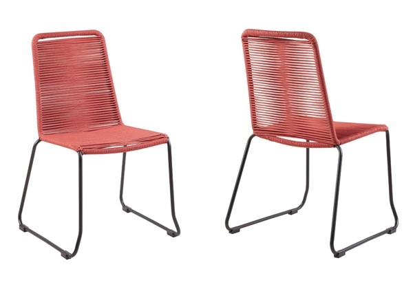 2 Armen Living Shasta Brick Red Rope Outdoor Stackable Dining Chairs ARM-LCSHSIBRK