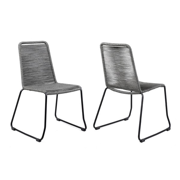 2 Armen Living Shasta Black Powder Coated Grey Rope Outdoor Patio Dining Chairs ARM-LCSHSICH