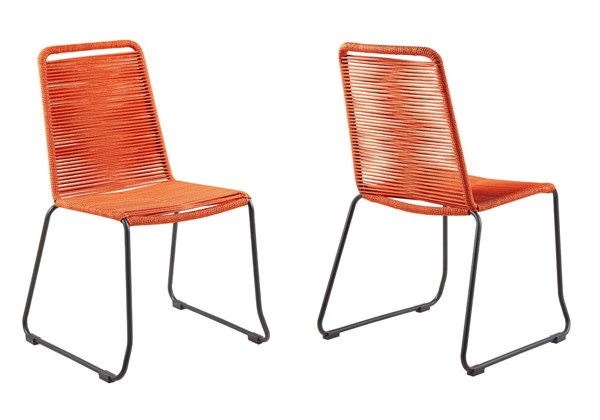 2 Armen Living Shasta Tange Orange Rope Outdoor Stackable Dining Chairs ARM-LCSHSITNG