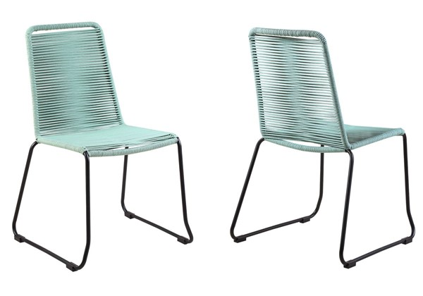 2 Armen Living Shasta Wasabi Rope Outdoor Stackable Dining Chairs ARM-LCSHSIWSB