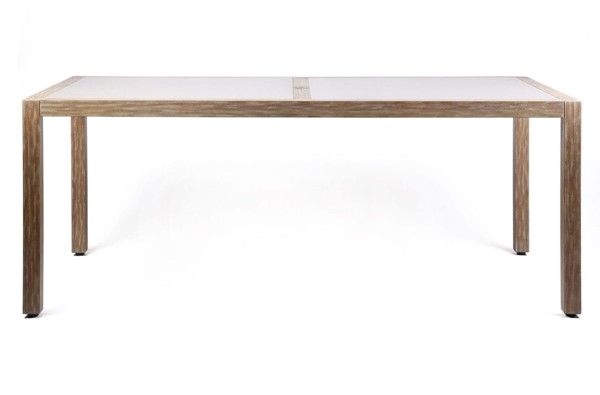 Armen Living Sienna Stone Top Grey Teak Eucalyptus Wood Outdoor Dining Table ARM-LCSIDIEUC