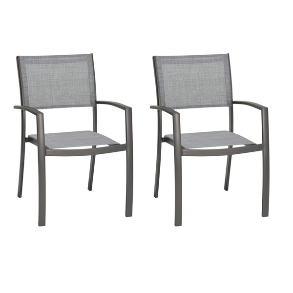2 Armen Living Solana Cosmos Grey Outdoor Arm Dining Chairs ARM-LCSLCHGR