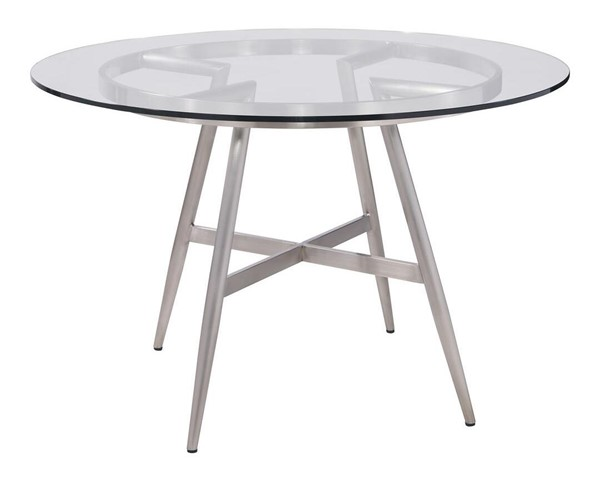 Armen Living Soleil Clear Glass Top Brushed Stainless Steel Base Dining Table ARM-LCSLDIBSCG