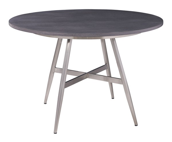 Armen Living Soleil Gray Walnut Top Brushed Stainless Steel Base Dining Table ARM-LCSLDIBSGR