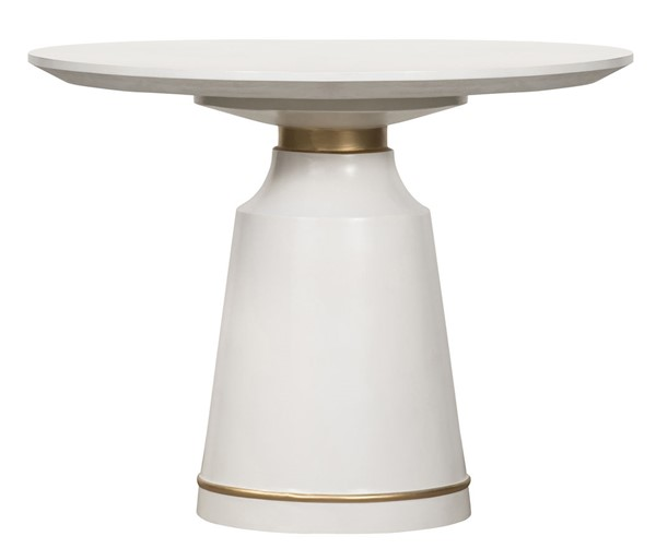 Armen Living Pinni White Concrete Bronze Painted Round Dining Table ARM-LCSPDIWH