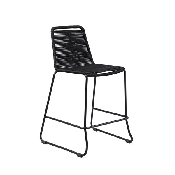 Armen Living Shasta Black Powder Coated Rope 30 Inch Outdoor Patio Barstool ARM-LCSSBABL30