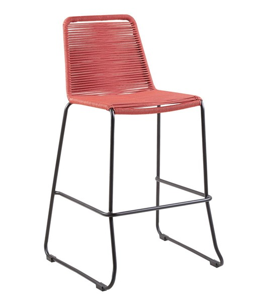 Armen Living Shasta Brick Red Rope 26 Inch Outdoor Stackable Bar Stool ARM-LCSSBABRK26