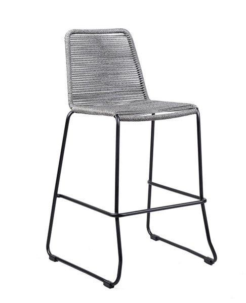 Armen Living Shasta Black Powder Coated Grey Rope 26 Inch Outdoor Patio Barstool ARM-LCSSBAGR26