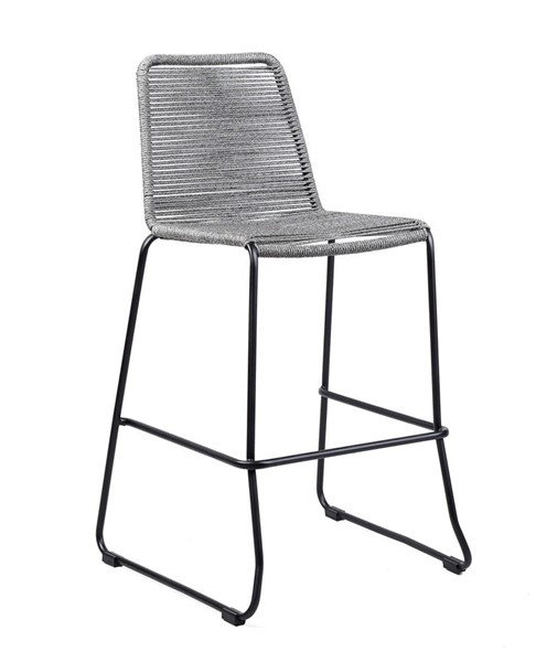 Armen Living Shasta Black Powder Coated Grey Rope 30 Inch Outdoor Patio Barstool ARM-LCSSBAGR30