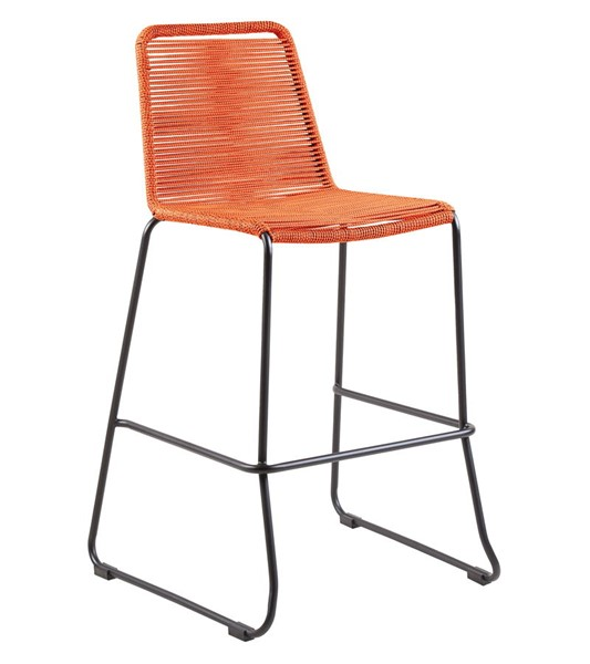 Armen Living Shasta Tange Orange Rope 26 Inch Outdoor Stackable Bar Stool ARM-LCSSBATNG26