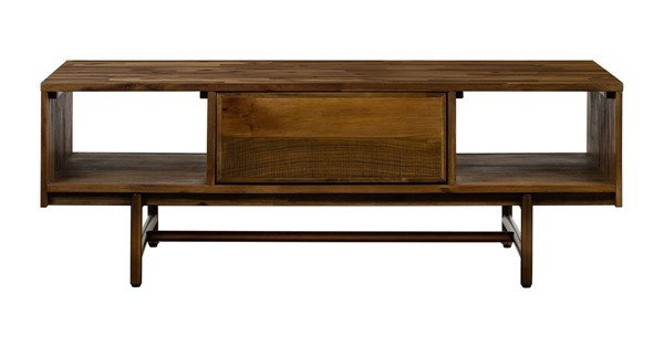 Armen Living Superb Matte Brass Wood Coffee Table with Drawer ARM-LCSUCORU