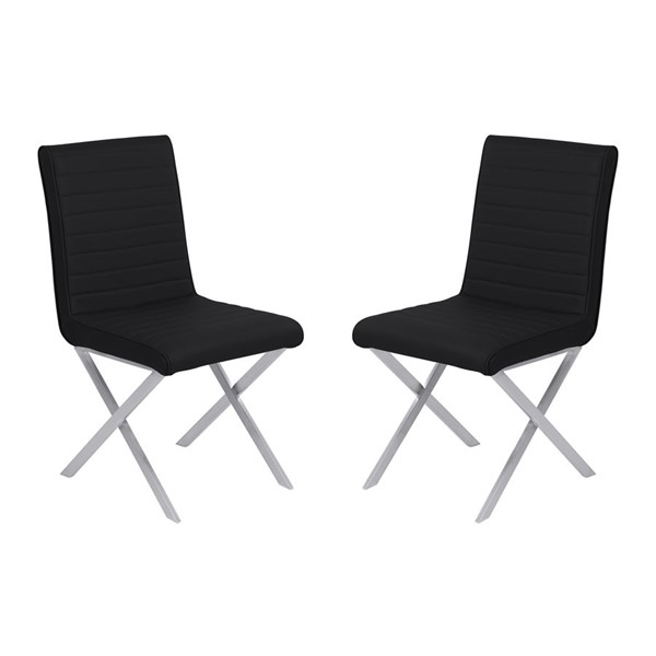 2 Armen Living Tempe Black Faux Leather Dining Chairs ARM-LCTESIBLBS
