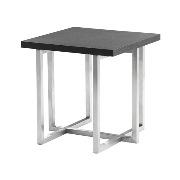 Armen Living Topaz Grey Brushed End Table ARM-LCTPLAGRBS