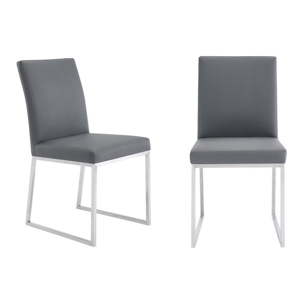 2 Armen Living Trevor Grey Faux Leather Dining Chairs ARM-LCTRCHBSGR