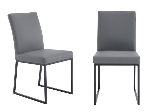 2 Armen Living Trevor Grey Black Faux Leather Dining Chairs ARM-LCTRCHMBGR
