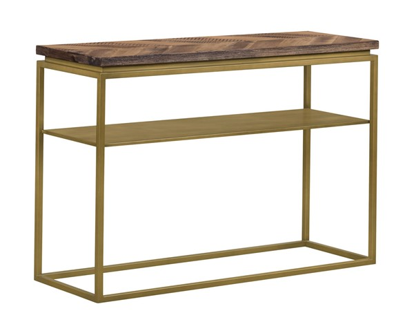Armen Living Faye Mixed Oak Rustic Brown Wood Console Table ARM-LCTRCNRU