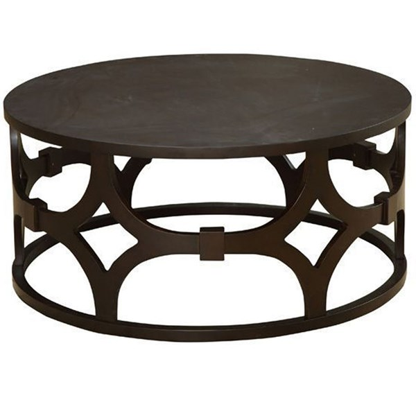 Armen Living Tuxedo Brown Round Coffee Table ARM-LCTUCO