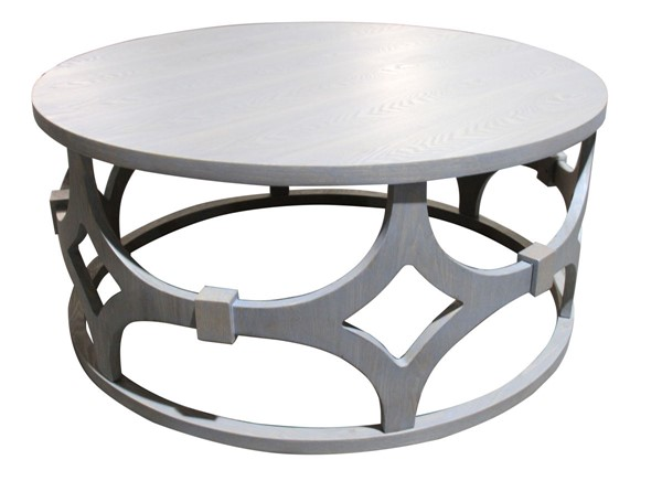 Armen Living Tuxedo Grey Wood 42 Inch Round Coffee Table ARM-LCTUCOGR