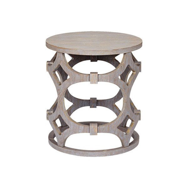 Armen Living Tuxedo Gray Round End Table ARM-LCTULAGR