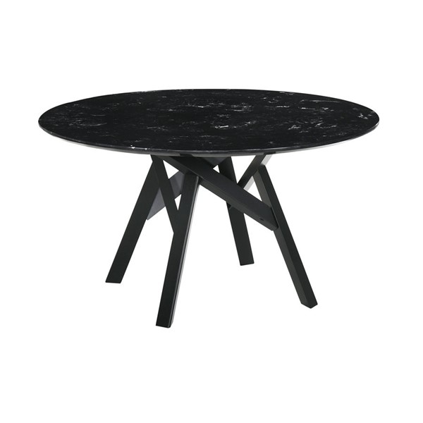 Armen Living Venus Black Marble Wood 54 Inch Round Dining Table ARM-LCVEDIBLK