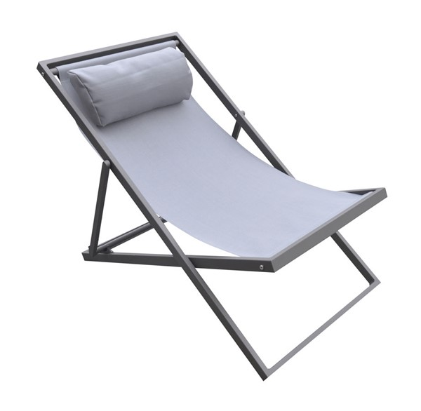 Armen Living Wave Grey Sling Outdoor Patio Aluminum Deck Chair ARM-LCWALOGR