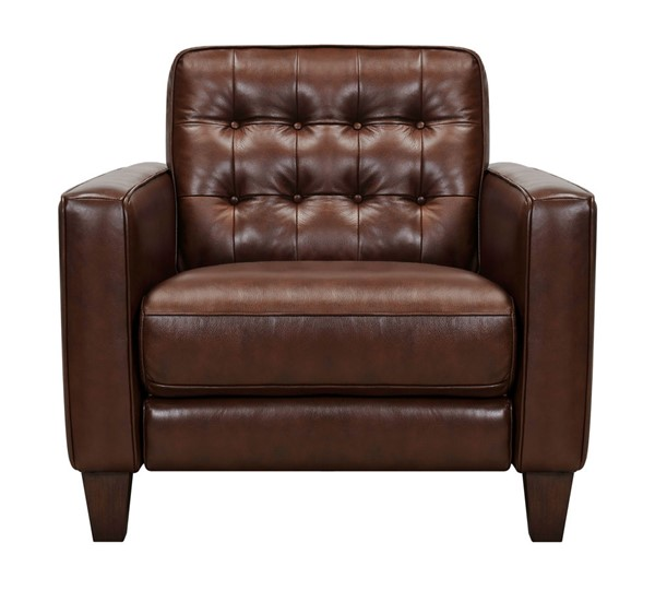 Armen Living Wesley Chestnut Leather Power Footrest Tuxedo Arm Accent Chair ARM-LCWE1CHE