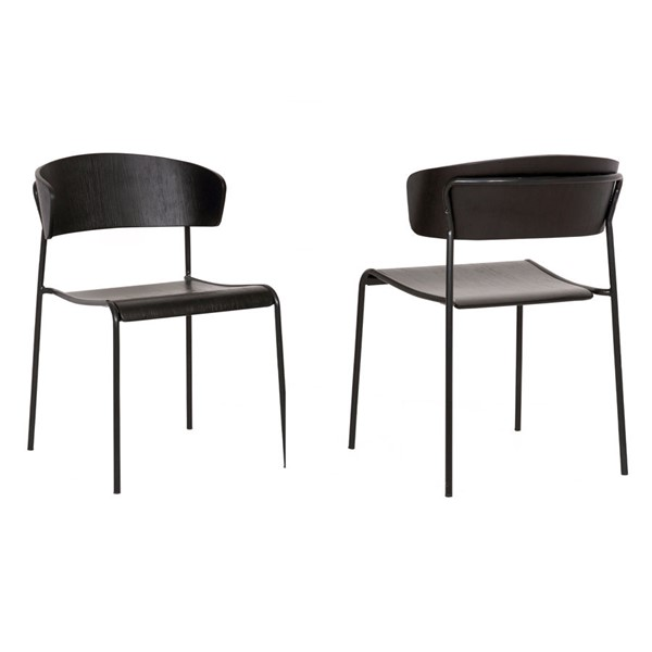 2 Armen Living Zeph Black Wood and Metal Dining Chairs ARM-LCZPSIBLBL