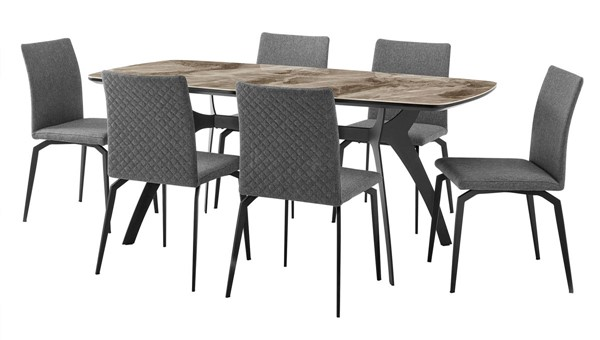 Armen Living Andes and Lyon Gray Fabric 7pc Rectangular Dining Set ARM-SETANDI7LYGR