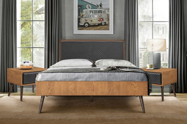 Armen Living Coco Balsamico Black Upholstered 3pc Bedroom Set with Queen Platform Bed ARM-SETCOBDQN3A