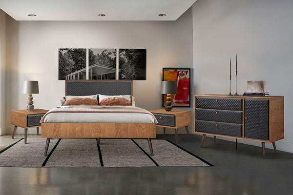 Armen Living Coco Balsamico Black Upholstered 4pc Bedroom Set with Queen Platform Bed ARM-SETCOBDQN4B