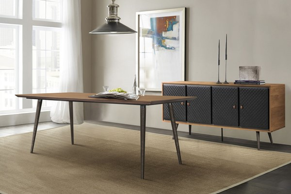 Armen Living Coco Balsamico Black Dining Table and Sideboard 2pc Set ARM-SETCODIBAL2A