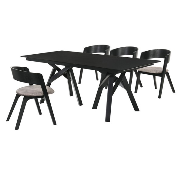 Armen Living Cortina Jackie Black Grey 5pc Dining Room Set ARM-SETCODIBLK5E