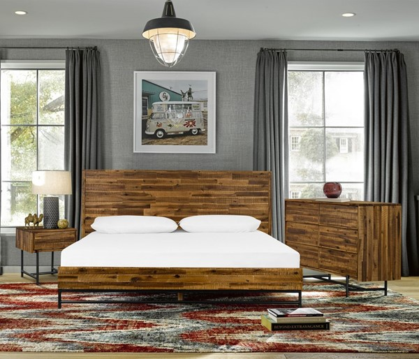Armen Living Cusco Antique Acacia 4pc King Bedroom Set with Dresser and Nightstands ARM-SETCUBDKG4A
