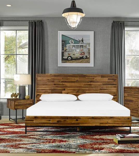Armen Living Cusco Antique Acacia 3pc Queen Bed and Nightstands Bedroom Set ARM-SETCUBDQN3A