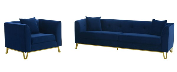 Armen Living Everest Blue Fabric 2pc Sofa and Chair Sets ARM-SETEV-2PC-LR-V