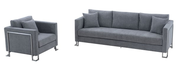Armen Living Heritage Gray Fabric 2pc Sofa and Chair Set ARM-SETHTGREY2PC