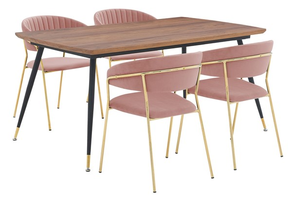 Armen Living Messina and Nara Pink Velvet 5pc Rectangular Dining Set ARM-SETMSDIPNK5F
