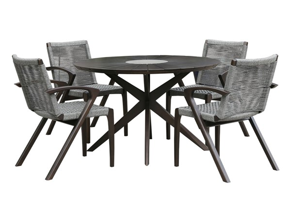 Armen Living Oasis and Brielle Dark Grey 5pc Outdoor Patio Dining Set ARM-SETOADIDK5A