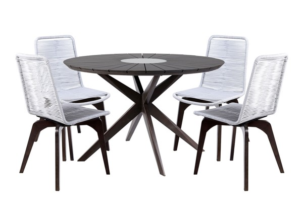 Armen Living Oasis and Island Dark Silver 5pc Outdoor Patio Dining Set ARM-SETOADIDK5B
