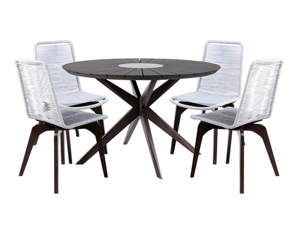 Armen Living Oasis Charcoal Grey 5pc Outdoor Patio Dining Sets ARM-SETOADILT5-OUT-DR-S