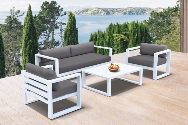 Armen Living Aegan Dark Grey White 4pc Outdoor Seating Set ARM-SETODAEWH