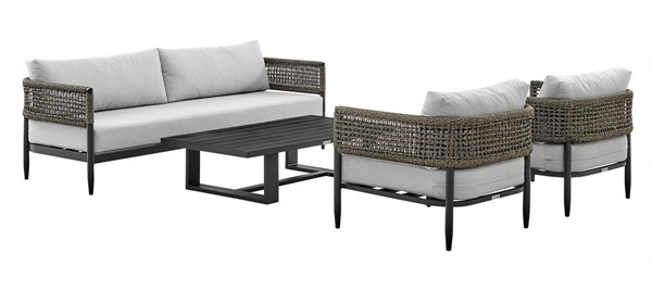 Armen Living Alegria Light Gray Fabric Black Aluminum 4pc Outdoor Conversation Set ARM-SETODALBL