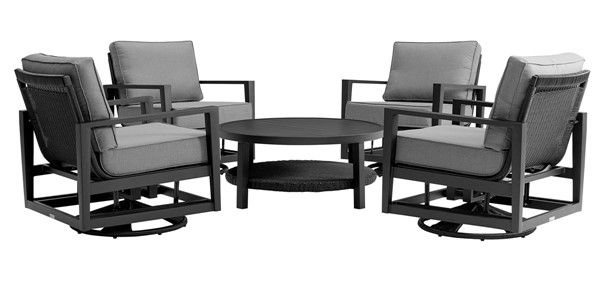Armen Living Cayman Dark Gray Cushion Black Aluminum 5pc Outdoor Seating Set ARM-SETODCMCHBL5