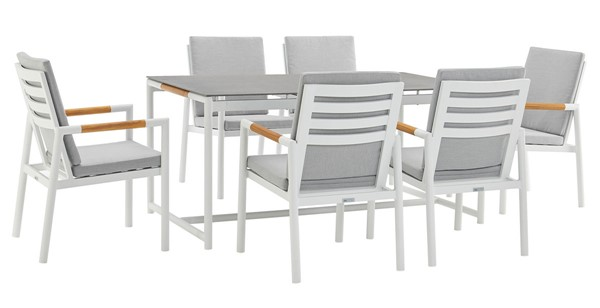 Armen Living Crown Light Gray Fabric White Aluminum 7pc Outdoor Dining Set ARM-SETODCRDIWH7