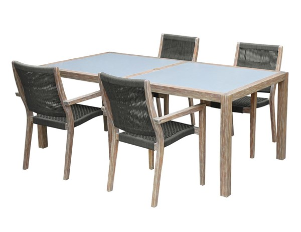 Armen Living Sienna Light Teak Sienna and Madsen 5pc Outdoor Patio Dining Sets ARM-SETODDI5-OUT-DR-S