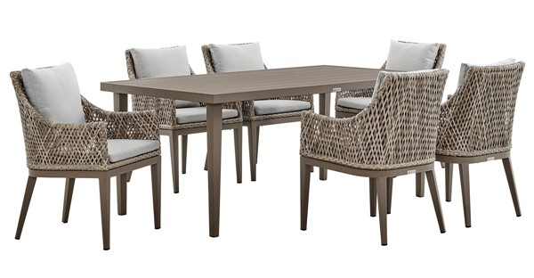 Armen Living Grenada Gray Fabric Beige Aluminum 7pc Outdoor Dining Set ARM-SETODGDDIGR7